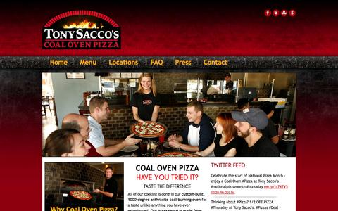 Screenshot of Home Page tonysaccos.com - Tony Saccos Coal Oven Pizza | Tony Saccos Coal Oven Pizza | Pizza Restaurants AZ,FL, MI, IN, NC, OH - captured Oct. 6, 2014