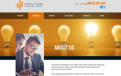 Screenshot of About Page utilitytrade.com - About Us - Utility Trade - captured Feb. 16, 2016