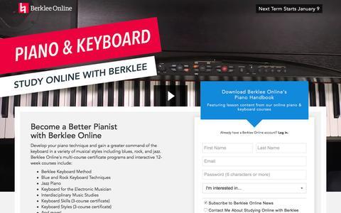 Screenshot of Landing Page berklee.edu - Study Piano with Berklee Online - captured Oct. 20, 2016