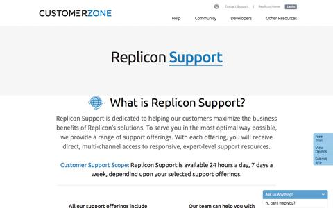 Screenshot of Support Page replicon.com - Support Offerings - captured Sept. 21, 2016