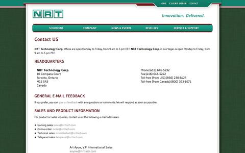 Screenshot of Contact Page nrttech.com - Contact Us - NRT Technology Corp. - Gaming and casino solutions - captured Oct. 7, 2014