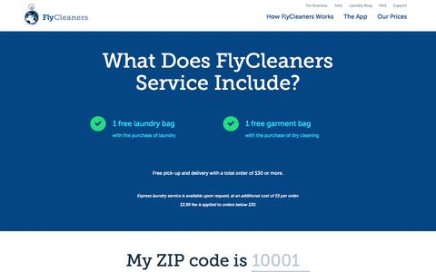 Screenshot of Pricing Page flycleaners.com - FlyCleaners: On-Demand Laundry and Dry Cleaning App - captured Nov. 23, 2015