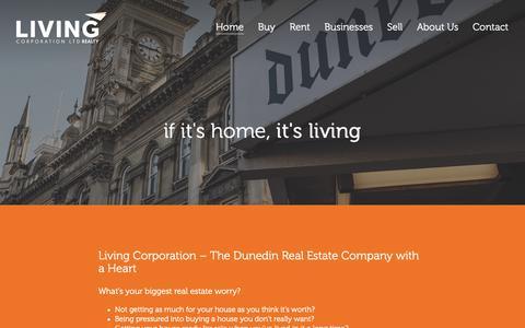 Screenshot of Home Page livingcorporation.com - Living Corporation | Real Estate | Mosgiel, Dunedin, Otago - captured Sept. 29, 2018