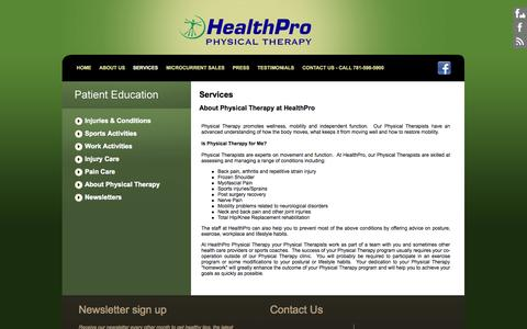 Screenshot of Services Page healthpropt.net - HealthPro Physical Therapy:PT - captured Oct. 27, 2014