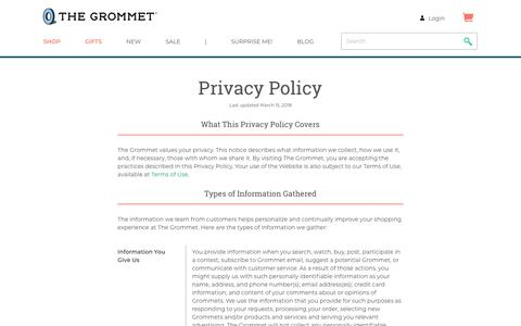 Screenshot of Privacy Page thegrommet.com - Privacy Policy | The Grommet® - captured Aug. 31, 2019