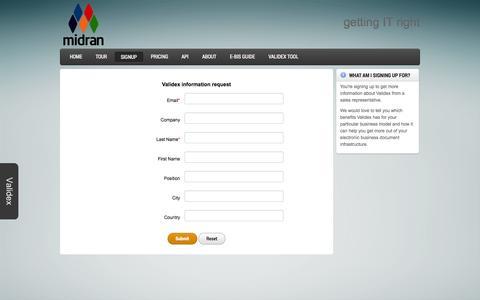 Screenshot of Signup Page midran.com - Signup - captured Oct. 27, 2014