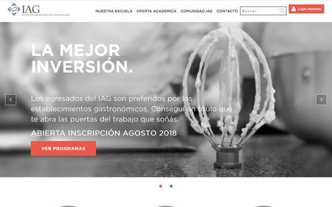 Screenshot of Home Page iag.com.ar - IAG | Instituto Argentino de Gastronomía - captured July 14, 2018