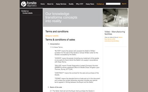 Screenshot of Terms Page forsitediagnostics.com - Terms and conditions - captured Oct. 6, 2014