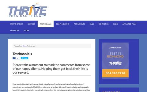 Screenshot of Team Page Testimonials Page thriveptva.com - Testimonials - Thrive Physical Therapy in Richmond - captured Oct. 26, 2018