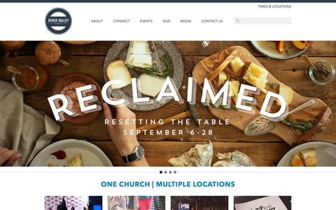 Screenshot of Home Page rivervalley.org - River Valley Church - captured Sept. 19, 2014