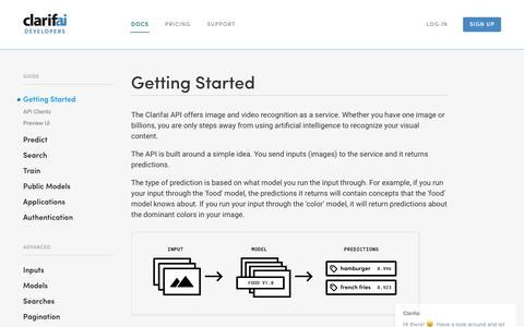 Screenshot of Developers Page clarifai.com - Getting Started Guide | Clarifai Developer - captured Dec. 15, 2016