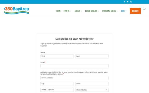Screenshot of Signup Page 350bayarea.org - Join - 350 Bay Area - captured Oct. 20, 2018