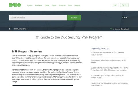 Guide to the Duo Security MSP Program