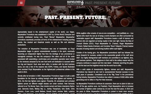 Screenshot of About Page mayweatherpromotions.com - About – Mayweather Promotions - captured Sept. 20, 2018