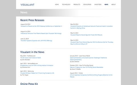 Screenshot of Press Page visualant.net - Visualant - News - News and press releases - captured Sept. 12, 2014