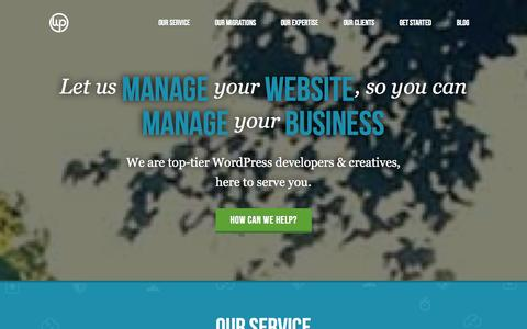 Screenshot of Home Page thewpvalet.com - WP Valet - WordPress Maintenance Services and Support - captured Sept. 19, 2014