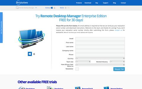 Screenshot of Trial Page remotedesktopmanager.com - Trial - Remote Desktop Manager - captured Feb. 1, 2016