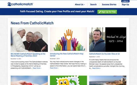 Screenshot of Press Page catholicmatch.com - News From CatholicMatch   CatholicMatch.com - captured July 3, 2015