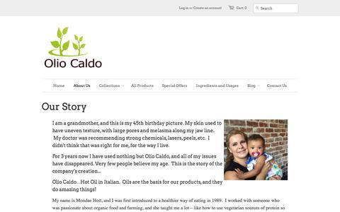 Screenshot of About Page oliocaldo.com - Our Story - Olio Caldo - captured Sept. 30, 2014