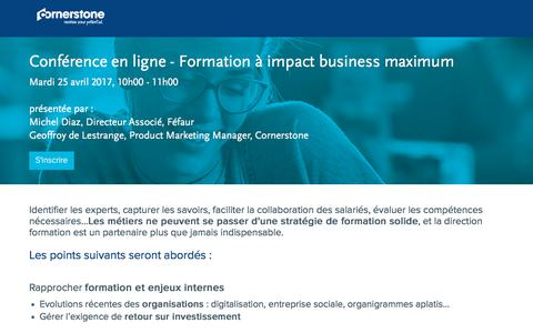 Screenshot of Landing Page cornerstoneondemand.com - Webinar - Formation à impact business maximum - captured April 9, 2018