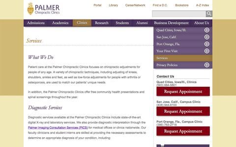 Screenshot of Services Page palmer.edu - Services | Palmer College of Chiropractic - captured Sept. 23, 2014