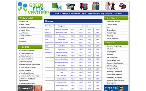 Screenshot of Site Map Page greenpetalventures.com - Welcome to Green Petal Ventures - Bags, T-Shirts, Caps and Aprons: We make them all in an ethical, fair waged business environment with 100% natural fabrics. - captured Dec. 14, 2015
