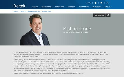 Screenshot of Team Page deltek.com - Michael Krone | Management Team | Deltek - captured April 19, 2019