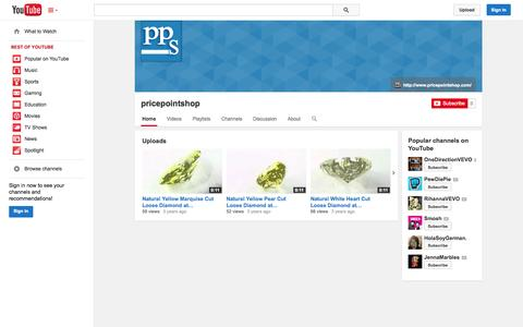 Screenshot of YouTube Page youtube.com - pricepointshop  - YouTube - captured Oct. 23, 2014