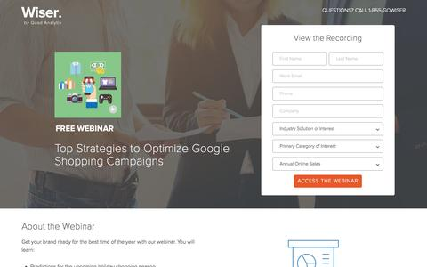 Screenshot of Landing Page wiser.com - Top Strategies to Optimize Google Shopping Campaigns - captured April 26, 2017