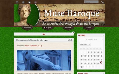 Screenshot of FAQ Page musebaroque.fr - F.A.Q. «  Muse Baroque, musique et arts baroques - captured Oct. 26, 2014