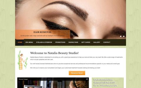 Screenshot of Home Page nataliabeautystudio.com - Natalia Beauty Studio | Skin Care, Eyebrows, & Eyelashes| Miami, Florida - captured Jan. 12, 2016