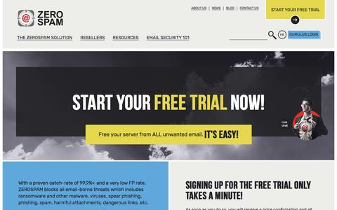 Screenshot of Trial Page zerospam.ca - Free Trial - ZEROSPAM - captured June 11, 2017