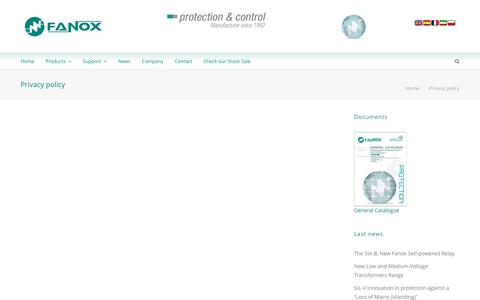 Screenshot of Privacy Page fanox.com - Privacy policy - Fanox - captured Jan. 16, 2016