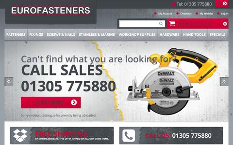 Screenshot of Home Page eurofasteners.co.uk - Home page - captured Oct. 3, 2014