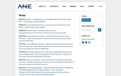 Screenshot of Press Page ane-agents.com - Agency Network Exchange (ANE) | Press - captured Feb. 5, 2016