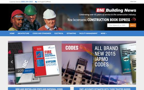Screenshot of Home Page bnibooks.com - Construction Books, Building Codes, Cost Estimating Books from BNi - BNi Books - captured Sept. 18, 2015