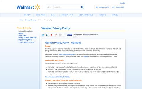 Screenshot of Privacy Page walmart.com - Walmart Privacy Policy Highlights - captured Oct. 29, 2014