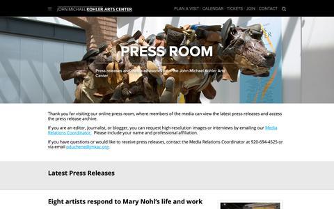 Screenshot of Press Page jmkac.org - Media/Press Releases - John Michael Kohler Arts Center - captured Oct. 14, 2018