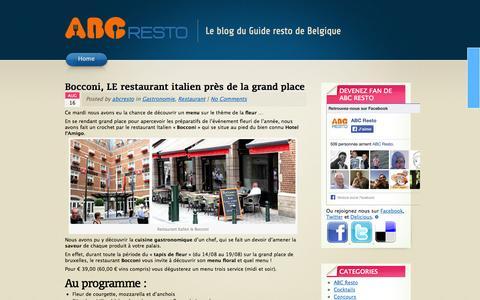 Screenshot of Blog abcresto.be - Blog restaurant et guide de la gastronomie en Belgique - ABC Resto Blog - captured Sept. 30, 2014