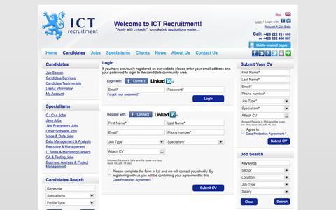 Screenshot of Login Page ictrecruit.com - Login - ICT Recruitment - captured Oct. 3, 2014