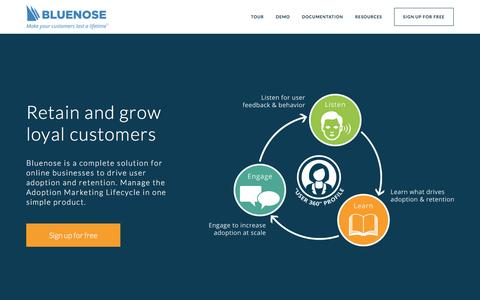 Screenshot of Home Page bluenose.com - Bluenose | Retain and grow loyal customers - captured Nov. 12, 2016