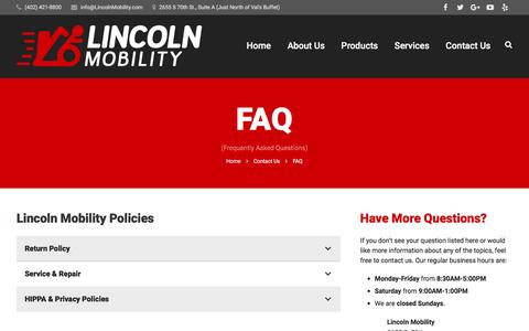 Screenshot of FAQ Page lincolnmobility.com - FAQ | Lincoln Mobility - captured Dec. 10, 2015