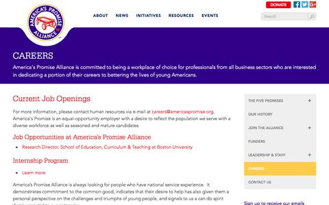 Screenshot of Jobs Page americaspromise.org - Careers | America's Promise Alliance - captured Dec. 28, 2017