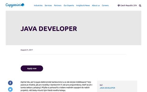 Screenshot of Jobs Page capgemini.com - JAVA DEVELOPER – Capgemini Czech Republic - captured Jan. 20, 2018