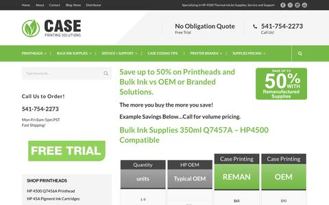 Screenshot of Pricing Page caseprintingsolutions.com - Bulk Ink Supplies 50% Savings | Case Printing Solutions - captured July 16, 2018