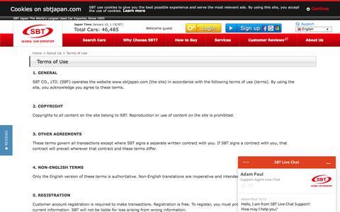 Screenshot of Terms Page sbtjapan.com - Terms Of Use   Japanese Used Cars Exporter, Dealer, Trader, Auction   SBT JAPAN - captured Jan. 9, 2020