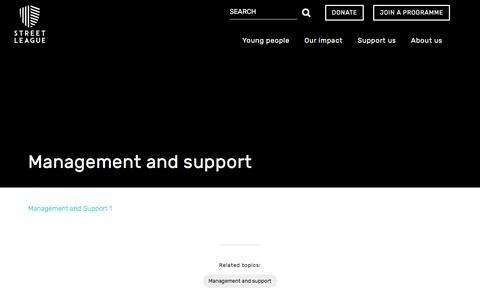Screenshot of FAQ Page streetleague.co.uk - Street League   FAQ   Management and support - captured Nov. 19, 2016