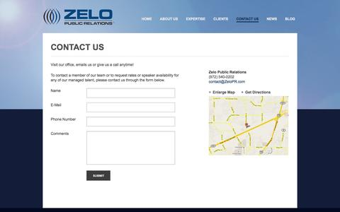 Screenshot of Contact Page Maps & Directions Page zelopr.com - Contact Us   Zelo Public Relations - captured Oct. 26, 2014
