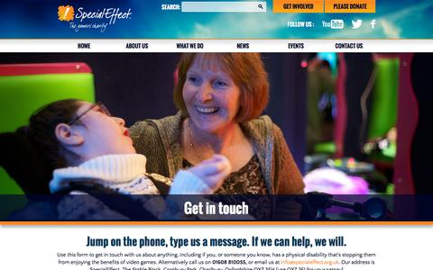 Screenshot of Contact Page specialeffect.org.uk - Get in touch | SpecialEffect - captured Nov. 23, 2015