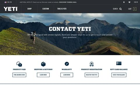 Screenshot of Contact Page yeti.com - Contact Us | YETI - captured July 1, 2019